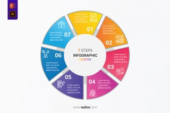 Vector circular infographic with 7 steps for presentation