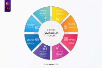 Eight-steps circle infographic for presentation template