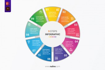 Business circle infographic concept with 9 steps for presentation
