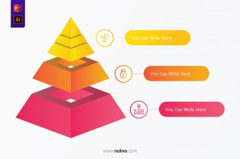 Pyramid Infographic Colorful Template With 3 Steps Concept
