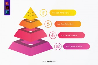Pyramid Infographic Template With Four Elements for Presentations