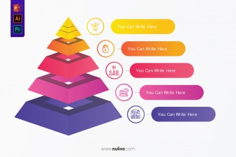 Layered Pyramid Chart Diagram With Five Level for Presentations