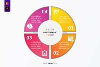 Vector Circle infographic with 4 steps for presentation templates